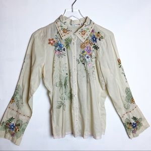 Johnny Was | Embroidered Button Up Top